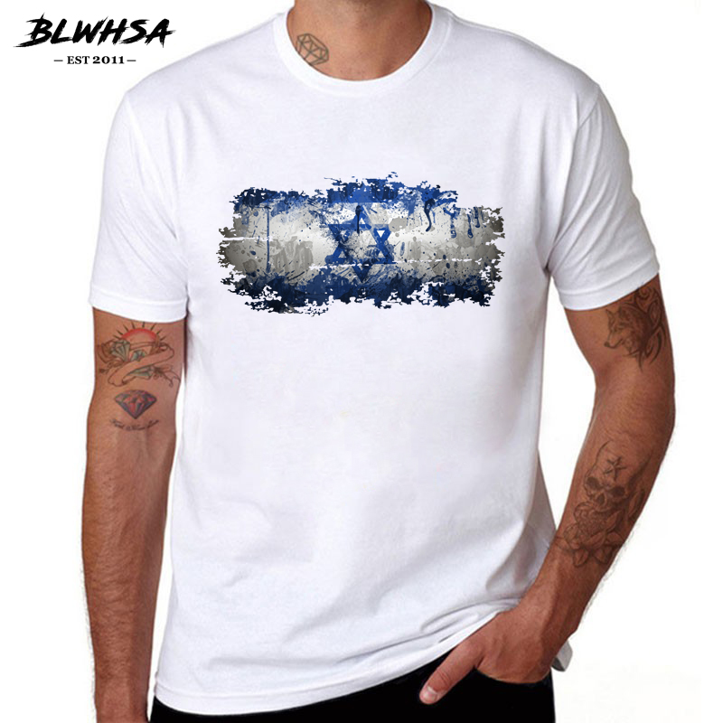 BLWHSA <font><b>Israel</b></font> Flag <font><b>T</b></font> <font><b>shirt</b></font> Men Fashion Summer Short Sleeve Round Neck Design Funny <font><b>T</b></font>-<font><b>shirts</b></font> Printing <font><b>Israel</b></font> Flag Men Clothing image
