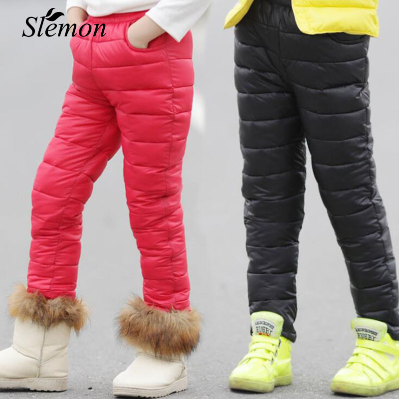 Winter 2018 Children Cotton Down Pants Warm Clothes Boys Girls High Waist Thicken Pocket Trousers for Kid 6 7 8 9 10 11 12 Years