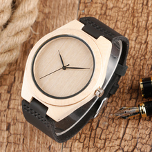 Erkek Saat Simple Wood Watches Men's Minimalist Deisgn WristWatch Original Wooden Bamboo Watch Male Sports Clock Reloj de Madera