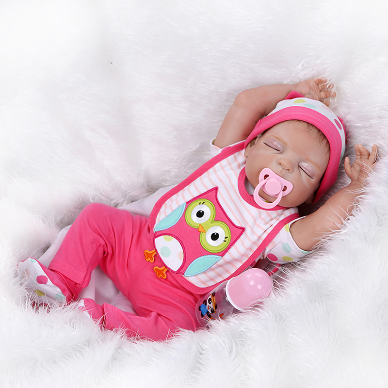 Full Silicone Vinyl Babies Doll 23 Inch Sleeping Reborn Girl Baby Toy Collectible Girls Dolls Kids