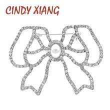 CINDY XIANG Nuovo Arrivo Fiocco di Strass Spille per Le Donne Hollow-out Bowknot Spilla Spille(China)