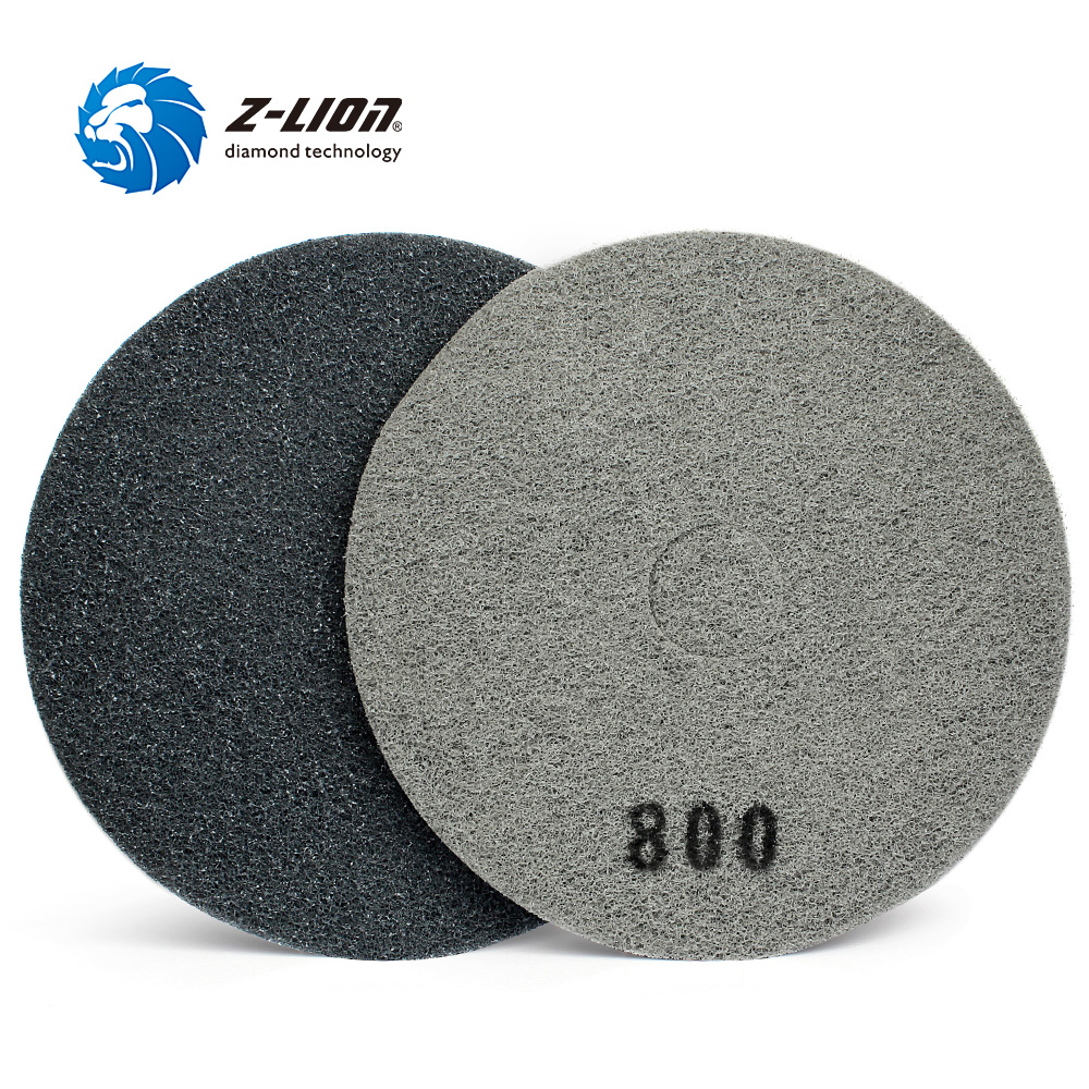 "Z LION 17"" 4pcs Fiber Sponge Polishing Pad Concrete Floor Cleaning & Polishing Wheel Diamond Buffing Disc 400/800/1500/3000 Grit-in Polishing Pads from Tools"