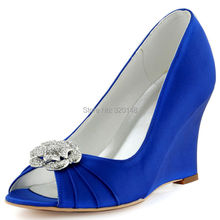 Woman  Blue Wedges Heels Peep Toe Clips Evening Prom Pumps Satin Bride Bridesmaids Bridal Wedding Shoes WP1547 Navy Ivory Teal