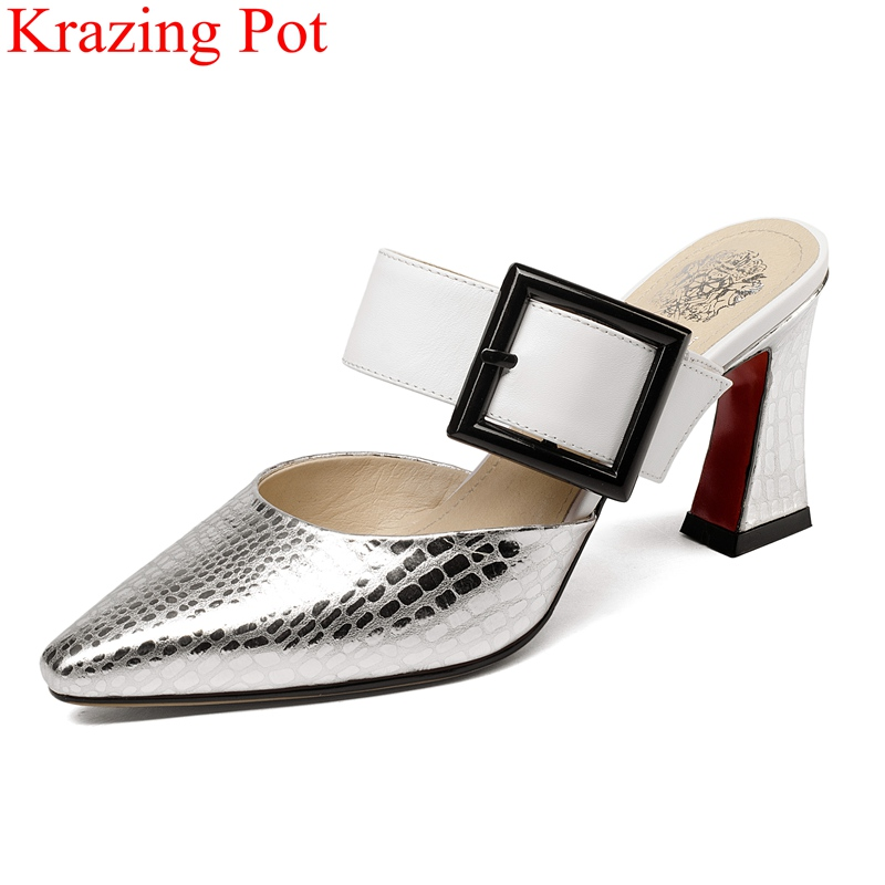 2019 new superstar buckle cow leather strange style women sandals vacation shoes slingback high heels elegant