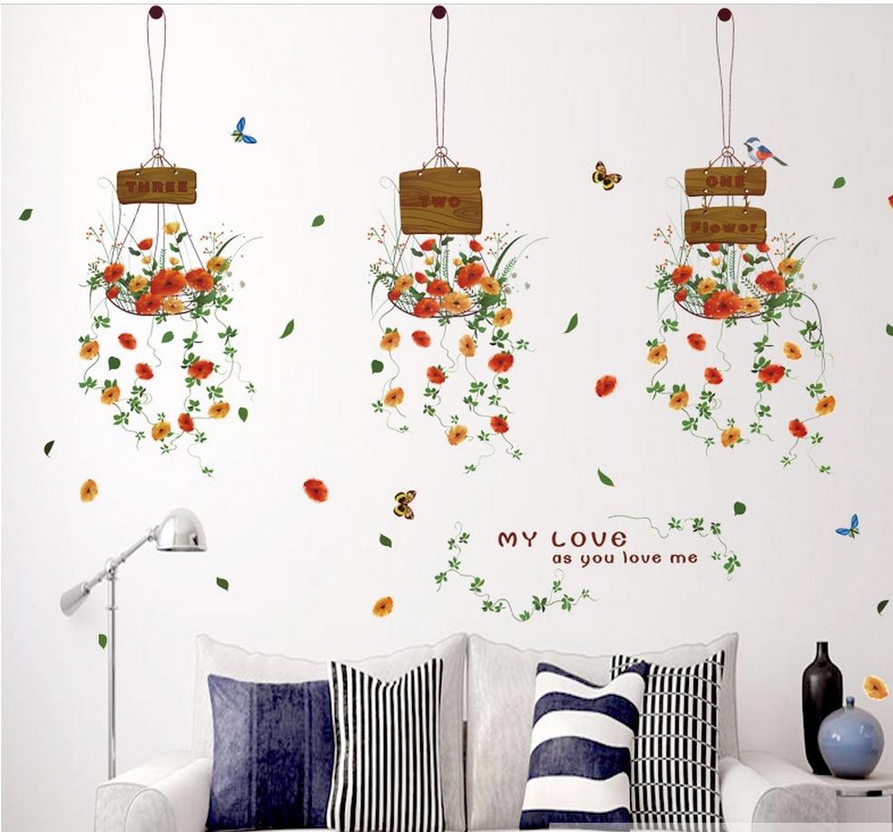 Flower Baskets Decorative Wallpaper Stickers Diy Decals Glass Wall