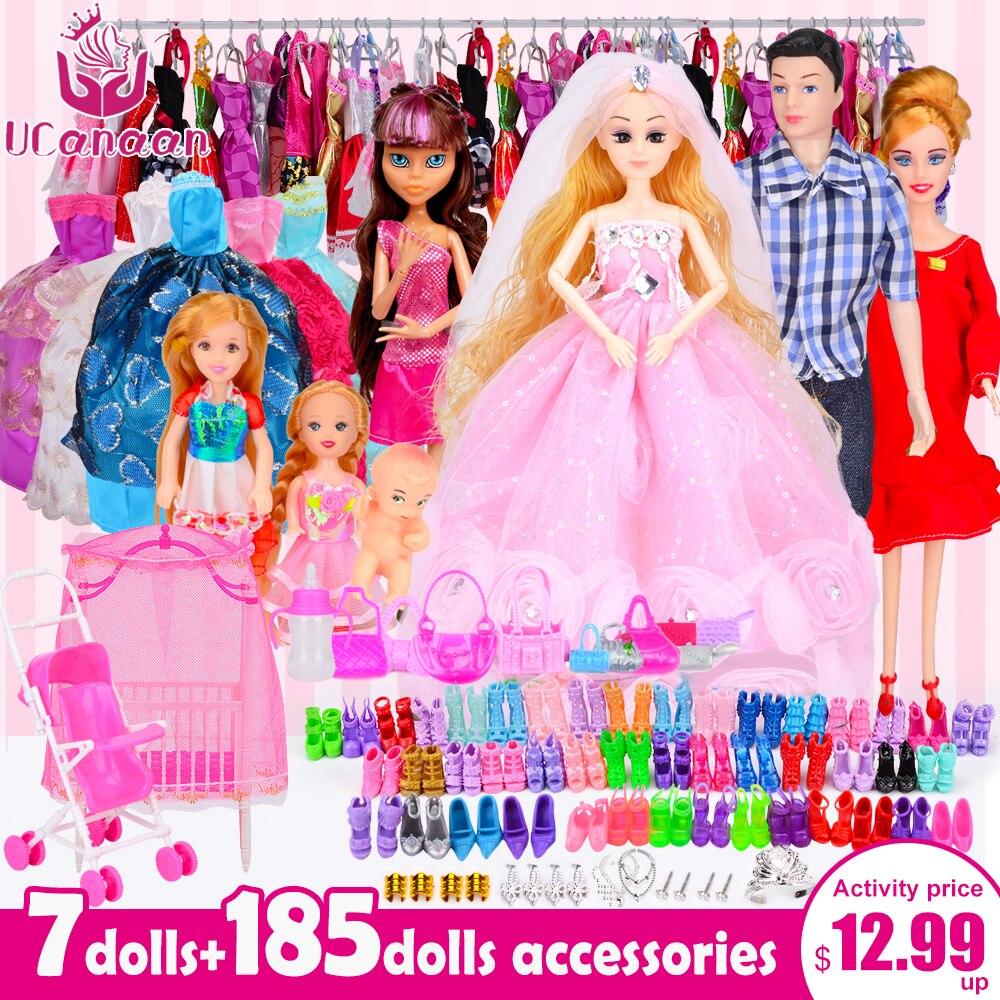 UCanaan Bambole Bambola Fashionista Ultimo Dressup Regalo Set Giocattolo Della Principessa di Modo bjd Bambole Accessori per barbie