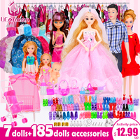 UCanaan Doll Fashionista Ultimate Dressup Dolls Set Gift Box Toy Fashion Princess Bjd Dolls Accessories For