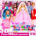 UCanaan Doll Fashionista Ultimate Dressup Dolls Set Gift Box Toy Fashion Princess bjd Dolls Accessories for barbie