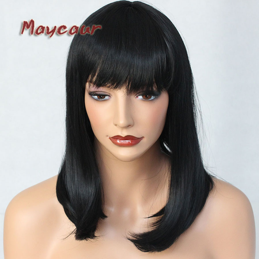 Natural Straight Wigs with Full Bangs Glueless Short Bob Hair Wig Synthetic None Lace Wigs for Women Hair No Combs