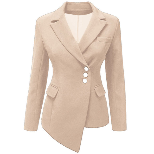 Dissymmetry OL Solid Oblique Breasted Tunic Women Suits Blazer feminino jacket Ladies Notched Collar Flap Pocket Business Blaser
