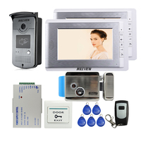 Brand New Wired 7 TFT Video Door Phone Intercom Entry System 2 Screen RFID Camera Electric