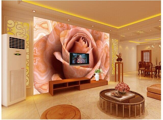 Personnalisé papel DE parede para quarto marbre rose à la salle DE ...