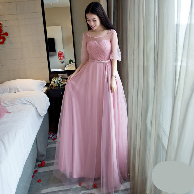 Detail Feedback Questions about 2019 Illusion Half Sleeve Dusty Pink  Bridesmaid Dress Floor Length Gray Pink Light Blue Bridesmaid Dresses SW1989  on ... cfa8ec03dd0b