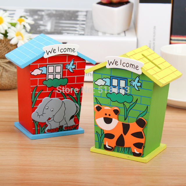 Children Gifts Kindergarten Birthday Gift Students Prizes Piggy Bank Small Wooden House Simulation Cash Register Unisex
