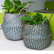 hot deal buy whism foldable seagrass laundry basket wicker baskets hanging rattan garden flower pots toy storage straw basket cesto mimbre