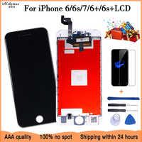Branco & preto 100% tela do oem para o iphone 6 7 6 plus 6s mais lcd substituição da tela com tela de toque 3d digitador assembléia