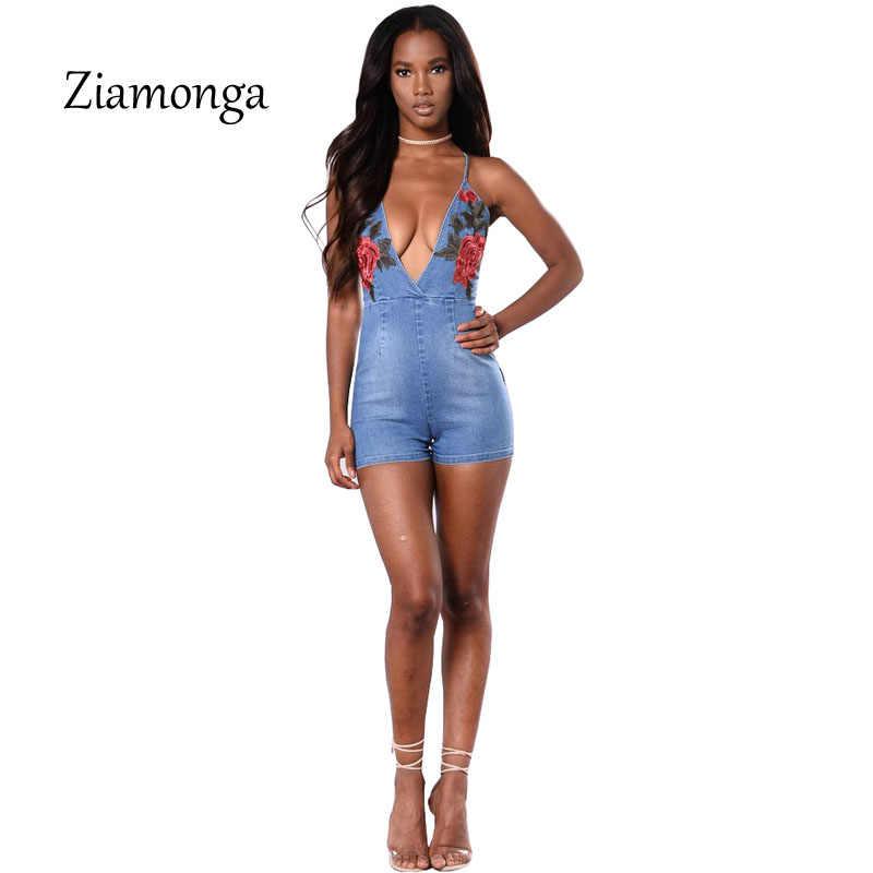 Zionga летний сексуальный джинсовый комбинезон с вышивкой розы, Облегающий комбинезон с открытой спиной, модные джинсовые комбинезоны, женский комбинезон
