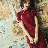 Sheng Coco Lace lined Cotton Fashion Cheongsam Dresses Summer Shanghai Retro Dark Red New Novelty Qipao Chinese Dresses Vestido
