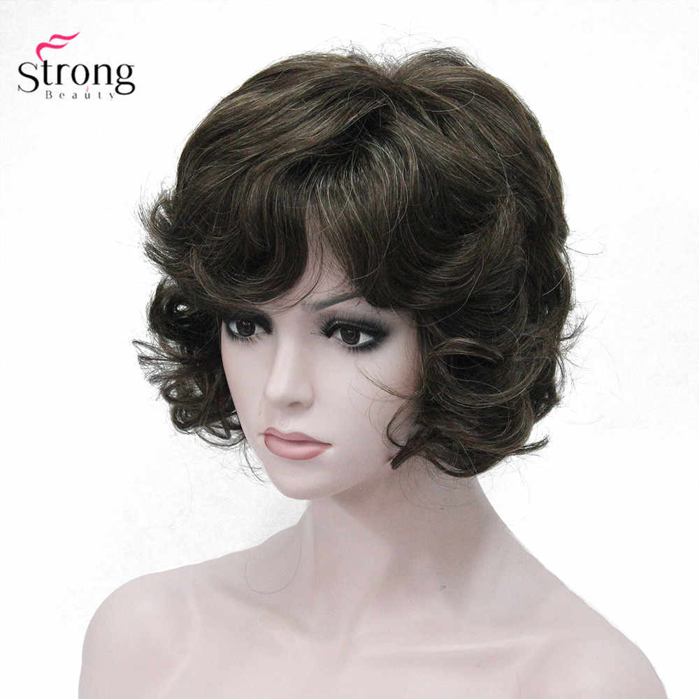Women S Synthetic Wig Short Curly Hair Brown Red Natural Wigs