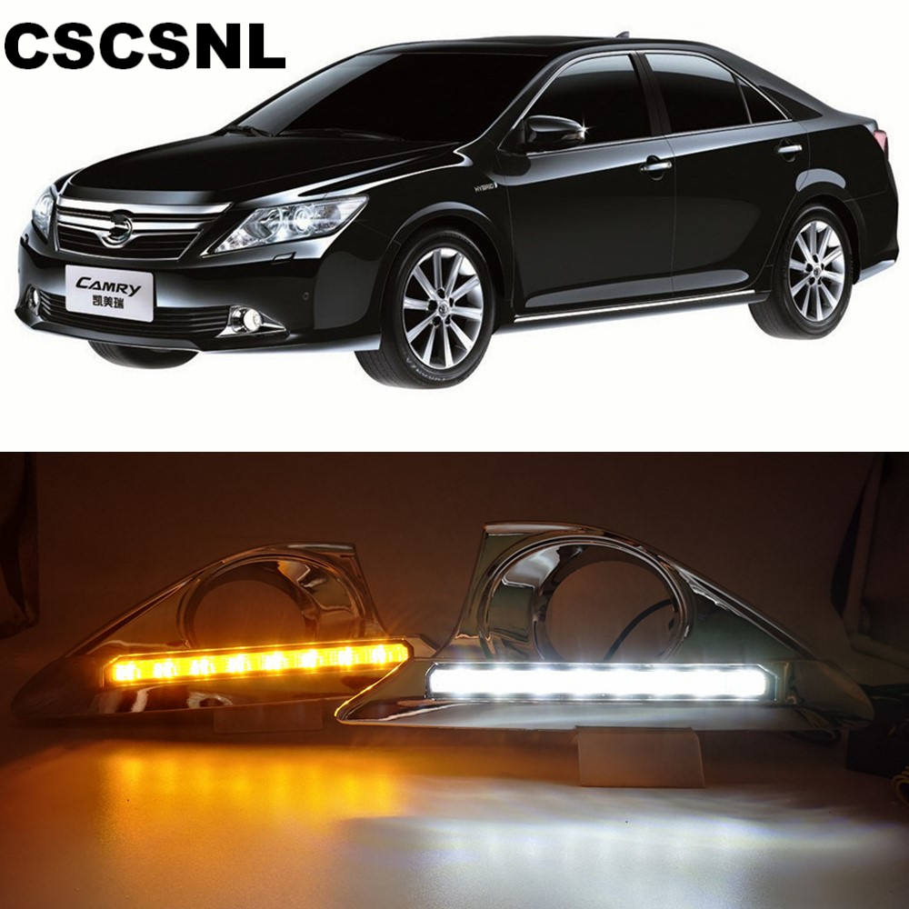 CSCSNL 1 set LED 12V DRL Daytime Running Lights with Turnning Yellow Signal fog lamp cover