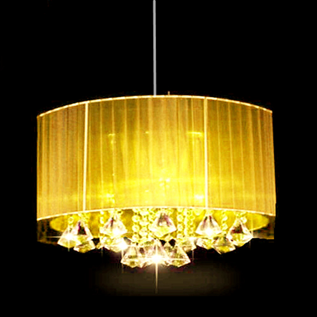 Modern oval chandelier living room study room led lustre light Brushed fabric lampshade k9 crystal luminaria free deliver