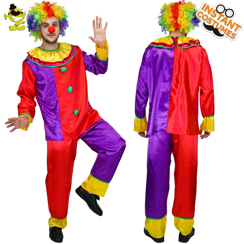 Adult Men's  Circus Clown Costume Comedy Stripes Spotted Funny Clown Clothes  Party Halloween Carnival Party Fancy Dress