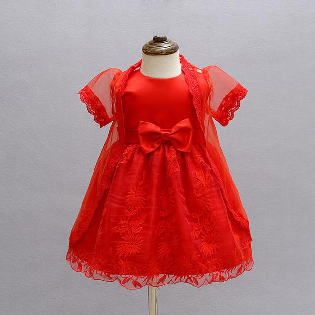 2016 verão princesa bebé 1 ano de aniversário vestido de malha laço vermelho vestido da menina do bebê roupa dos miúdos 2 pcs conjuntos