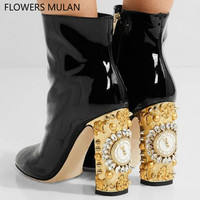 Fashion New Design Ankle Boots For Women Pointed Toe Patent Leather Martin Boots Shoes Gold Bling Diamond Crystal Clock Heel
