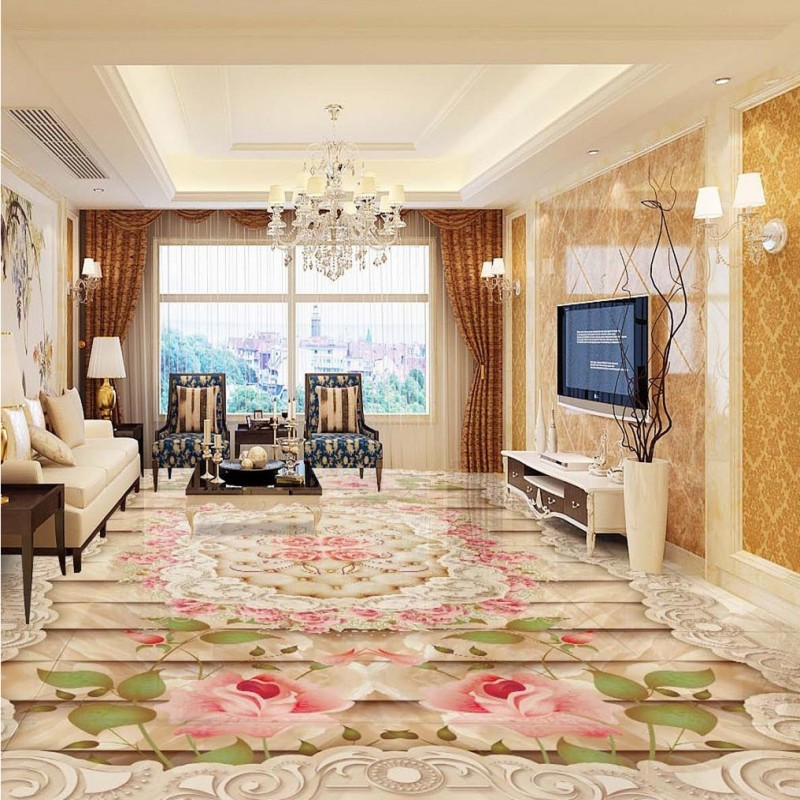 Free shipping Luxury marble patterned parquet 3D floor bedroom flooring custom living room self-adhesive photo wallpaper flowers