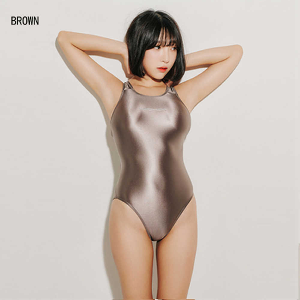 LEONEX One Piece Swimwear Women 2019 Sexy Satin Glossy Body Suit High Cut Bodysuit Shiny Bathing Suits Female Swimsuit