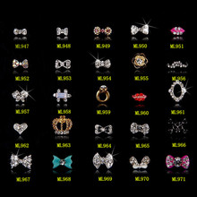 100PCS new Alloy Nail Art Tips Stickers Deco Bow Knot Jewelry Multicolor Glitter Rhinestone nail gel/947-971(20designs)