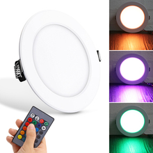10W downlight RGB ceiling light remote control Colorful Aluminum recessed downlights round led panel