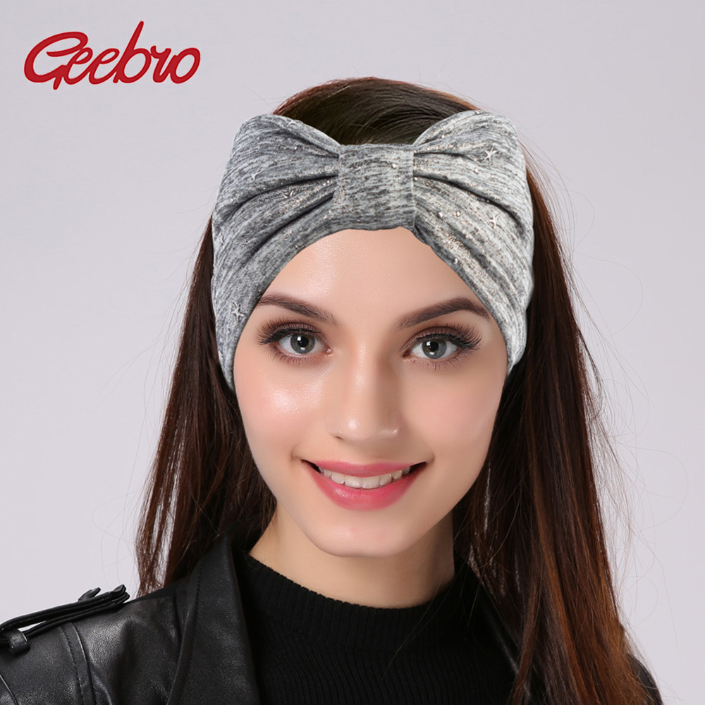 Geebro Metallic Color Wide Star Headbands For Women Spring Knotted ...