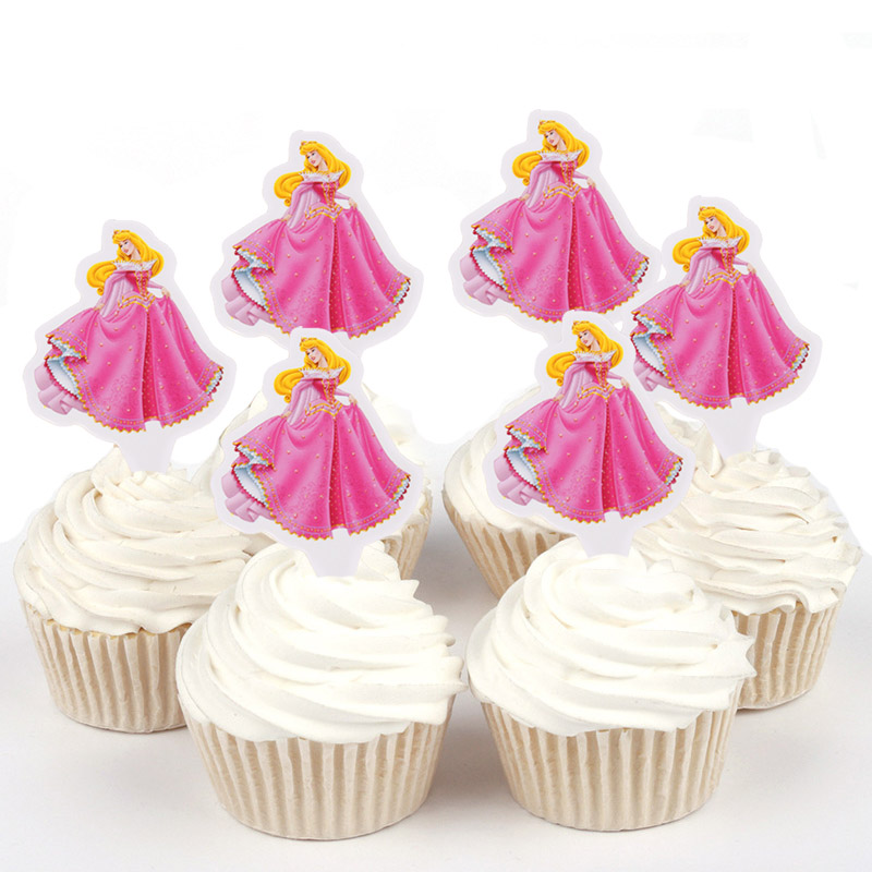 100pcs Disney Princess Aurora Belle Cinderella Sophia Paper Cupcake Topper For Cake Decoration Birthday Wedding Party Suppliers