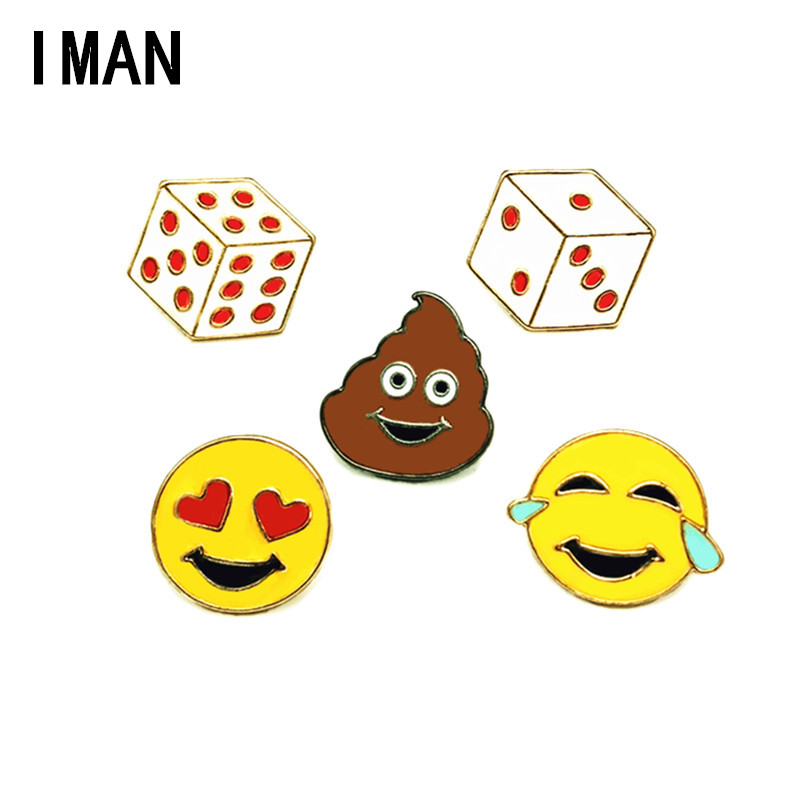 2018 New Arrival Zinc Alloy Face Brooches New Dice Cartoon Badge Xionghua Metal Alloy Clothing Collar Pin Expression Brooch