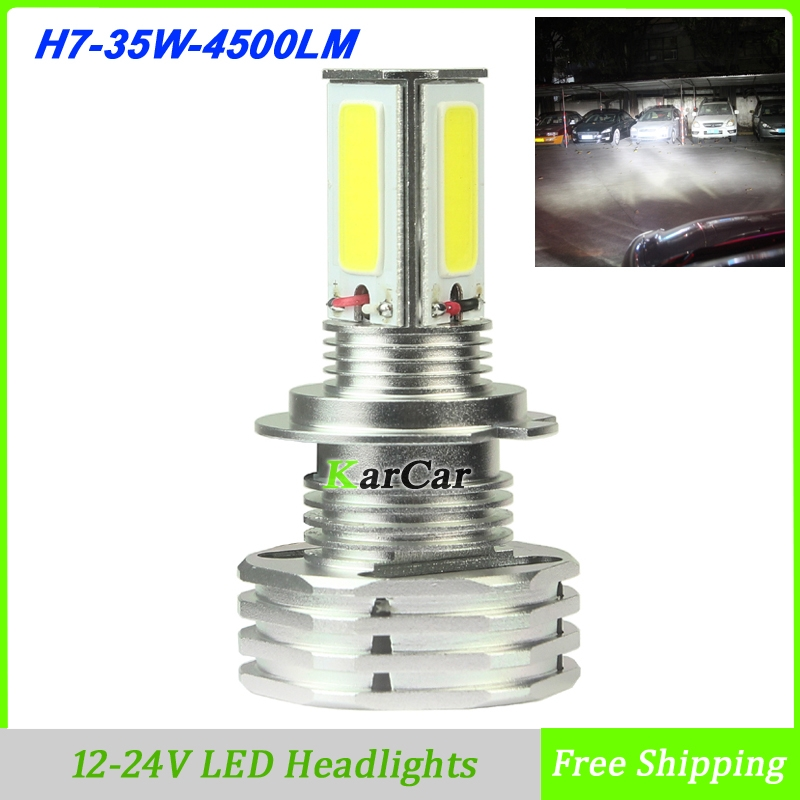 High Power 35W 4500LM H7 LED Headlight Daytime Light Bulb, 12-24V Auto Car LED Head Lights Fog Lamp 6000K White Free Shipping  high quality 12v gy6 35 led lights gy6 35 lights led g6 35 bulb g6 led free shipping 2pcs lot
