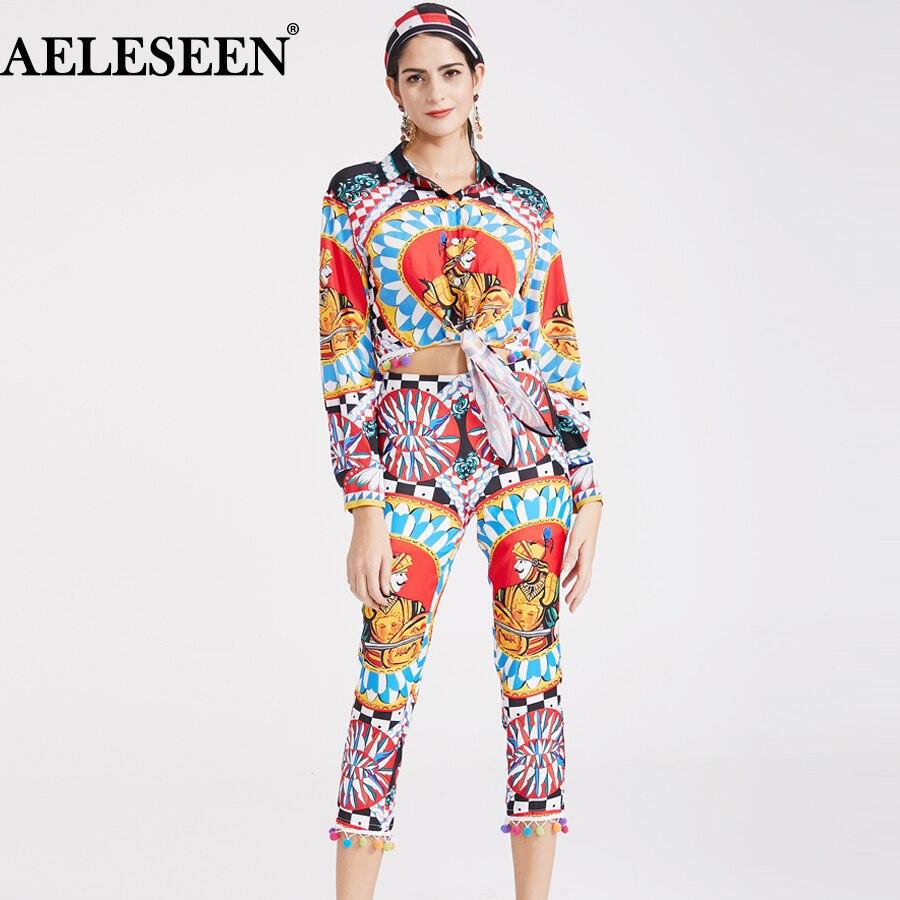 3 Aeleseen Boule 2018 Nouveau Poils Vintage Pantalon Costumes Imprimer De Écharpe Automne Formelle Blouse Piste Vêtements Ensemble Femmes Pcs Partie qEzqrWnP