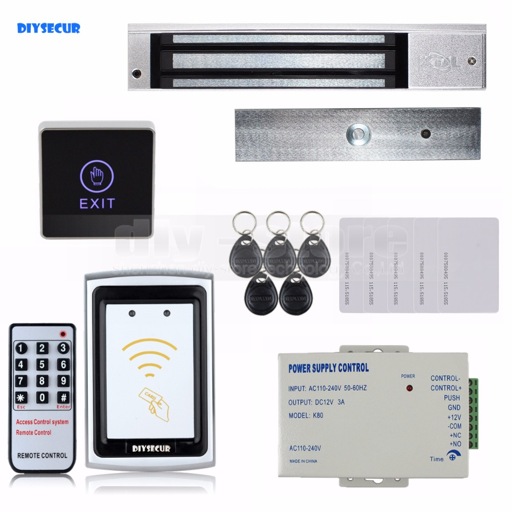 DIYSECUR 125KHz RFID Reader No Keypad Controller + Magnetic Lock Door Access Control Security System access control all in one machine reader entry door keypad lock access control system for office family