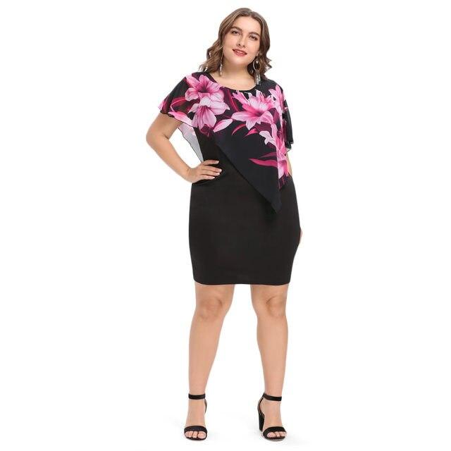Wipalo Women Fashion 2018 Summer Plus Size 5XL Capelet Overlay Party Dress  Chiffon Panel O Neck Sheath Dress Vestidos Femme 5a57f6b1b86b