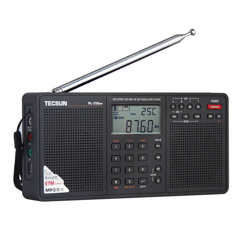 Tecsun PL-398MP FM AM SW Radio 2.2 ''Full Band Digitale Tuning Stereo FM/AM/SW Radio Ontvanger MP3 Speler