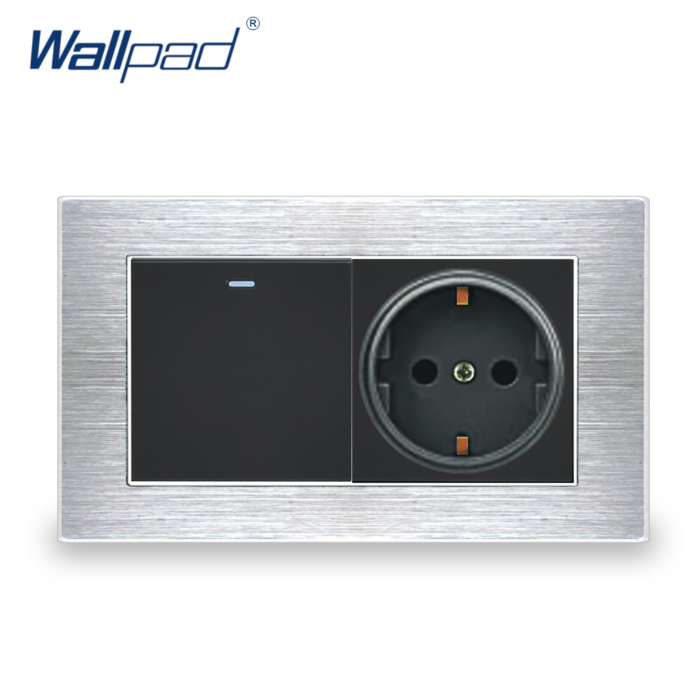1 Gang 2 Way EU Socket German Standard Wallpad Luxury Wall Outlet Satin Metal Panel 146*86mm Wall Power Outlet цены