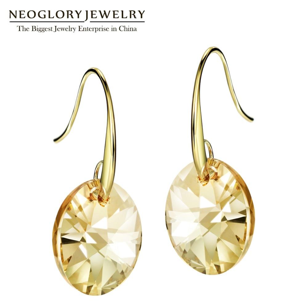 Neoglory osztrák kristály világos sárga arany színű cseh dangle csepp fülbevaló nőknek indiai divat ékszerek 2018 szerelem JS9