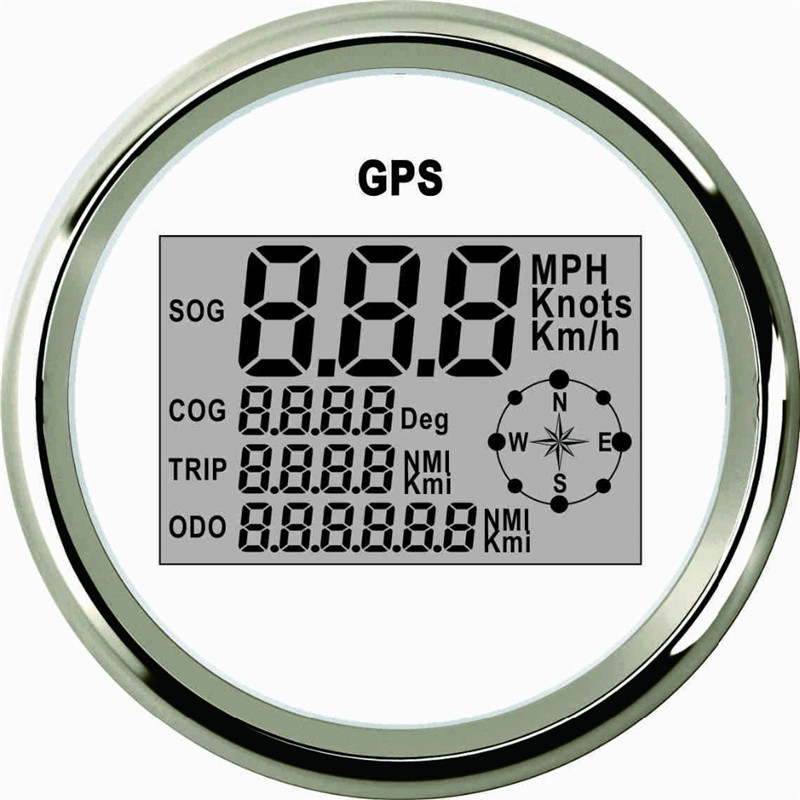 Moteur De Camion De voiture Automatique GPS Compteur De Vitesse 9-32 v Étanche En acier Inoxydable Blanc Jauges Numériques livraison gratuite