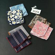 Модный дизайнерский мужской повседневный платок с цветочным принтом, квадратный платок, хлопок, hanky, 24x24 см, 10 шт./партия