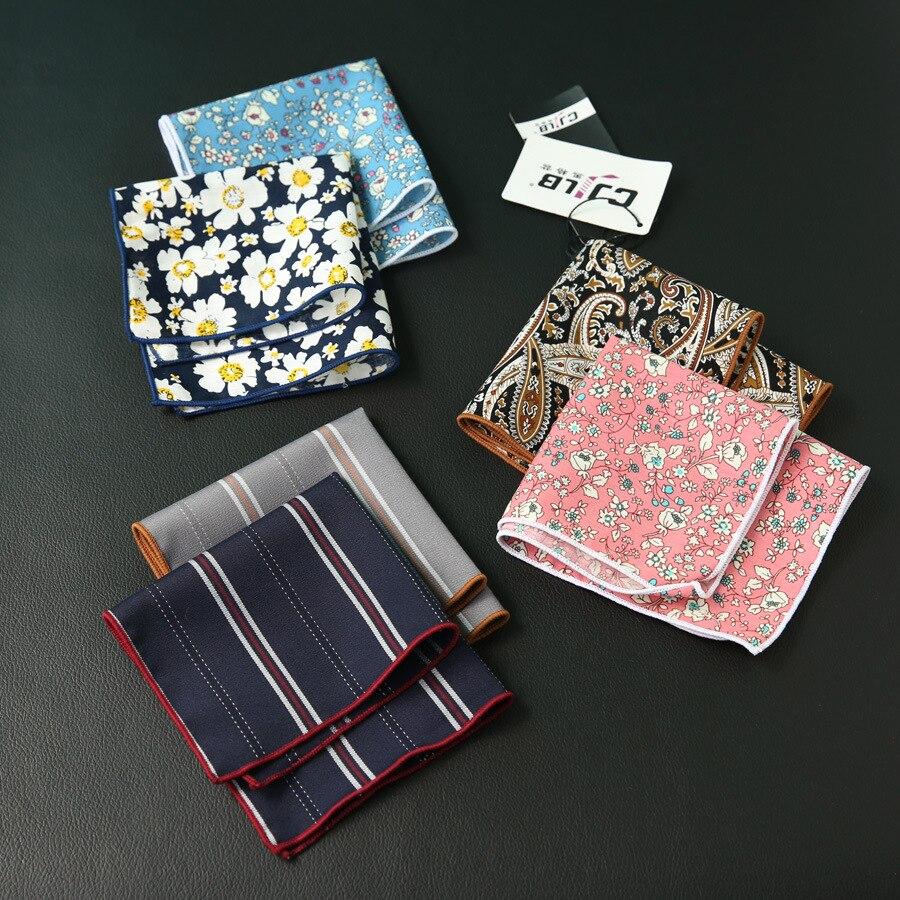New Fashion Designer Men's Casual Print Floral Pocket Square Handkerchief Cotton Hanky 24x24cm 10pcs/lot