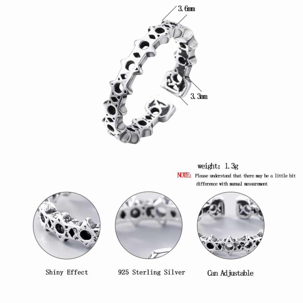 Kinitial ручной работы Сатурн НЛО кольцо в форме Для женщин стерлингового серебра 925 ювелирные изделия Дизайн звезды кольцо Высокое качество палец Bijoux