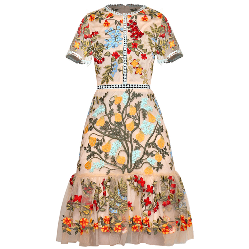 Red RoosaRosee Gorgeous Short Sleeve Heavy Embroidery Retro Slim Dress Women Summer 2019 Elegant Party Mini