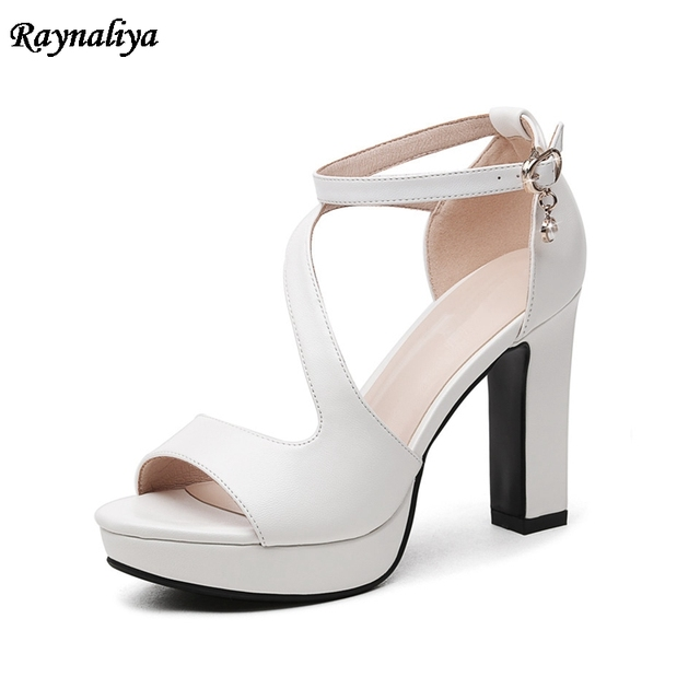Women Sandals High Heels Shoes 2018 Summer Spring Buckle Platform Peep Toe  New Sexy Fashion Casual
