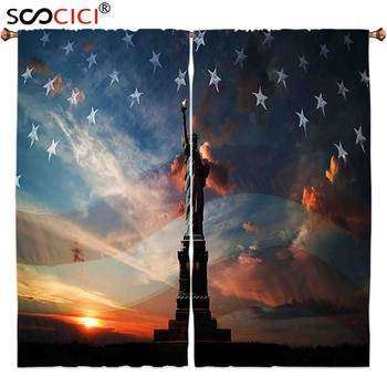 Window Curtains Treatments 2 Panels,4th of July Decor Silhouette of Statue of Liberty on USA Flag National Culture Illustration