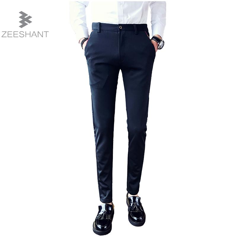 Zeeshant 2018 Summer Mens Suit Pants Size 38 Thin Dress Pants Slim Classical Work Pants For Male Clorhes in Mens Suit Pants